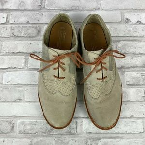 TOMS Loafers Oxford Shoes Beige Casual Suede Laces